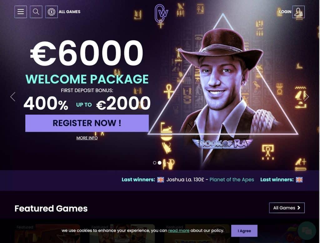 CasinoWin.bet desktop screenshot