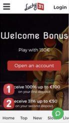 Lucky 31 mobile screenshot