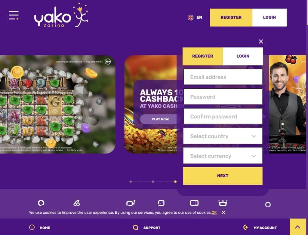 Yako Casino desktop screenshot