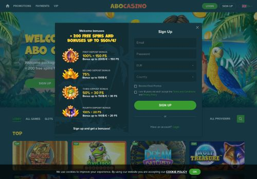 Abo Casino desktop screenshot
