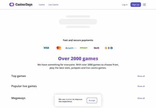 Casino Days desktop screenshot