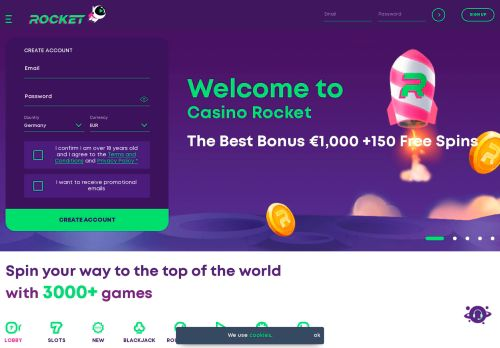 Casino Rocket desktop screenshot