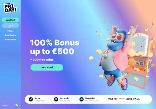 CasinoFriday desktop screenshot