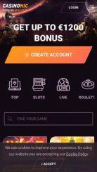 Casinonic mobile screenshot
