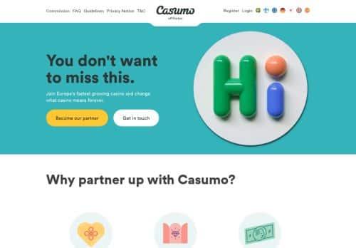 Casumo Affiliates desktop screenshot