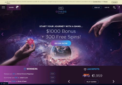 Genesis Casino desktop screenshot