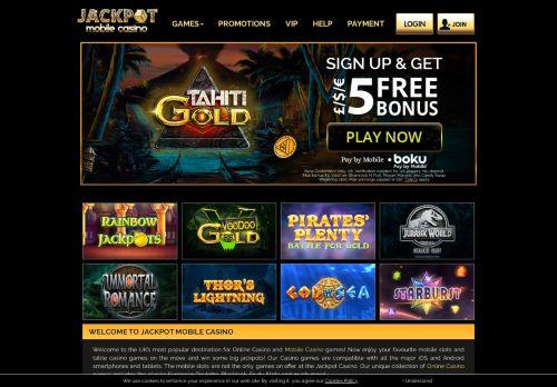 Jackpot Mobile Casino desktop screenshot