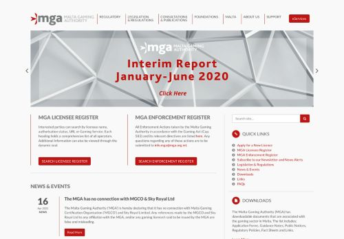 MGA (Malta Gaming Authority) desktop screenshot