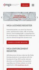 MGA (Malta Gaming Authority) mobile screenshot