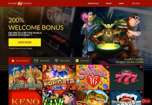 Planet 7 Casino desktop screenshot