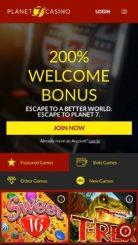 Planet 7 Casino mobile screenshot