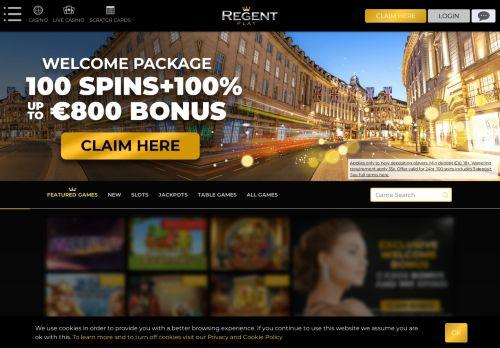 Regent Casino desktop screenshot