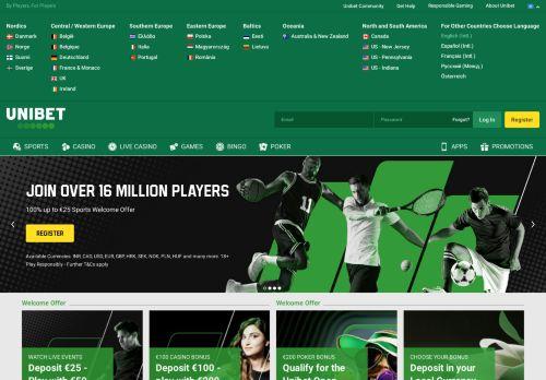 Unibet desktop screenshot
