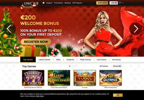 Unique Casino desktop screenshot