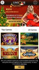 Unique Casino mobile screenshot