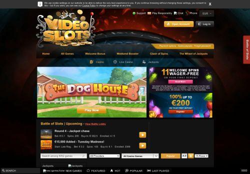 Videoslots desktop screenshot